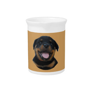 Happy Male Rottweiler Puppy Pitcher