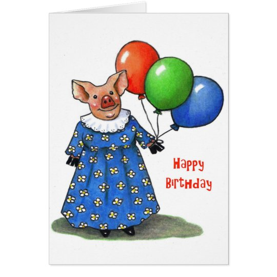Happy Mama Pig With Balloons: Colour Pencil Card