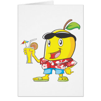 Happy Mango Fruit in Beach Attire Card