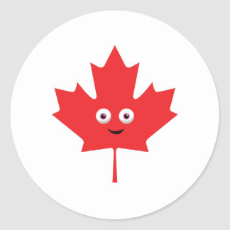 Happy Maple Leaf Classic Round Sticker