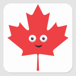 Happy Maple Leaf Square Sticker
