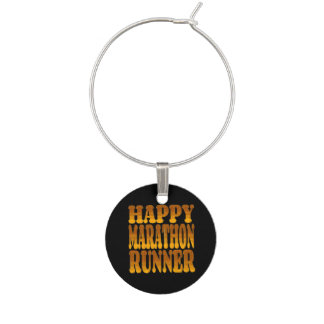 Happy Marathon Runner in Gold Wine Charm