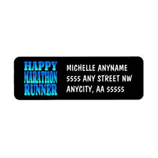 Happy Marathon Runner Return Address Label
