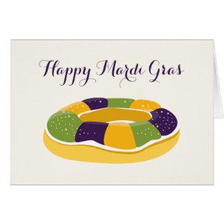 Happy Mardi Gras King Cake Fat Tuesday Card