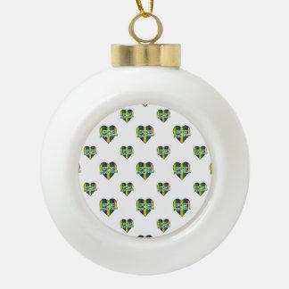 Happy Mardi Gras Logo Ceramic Ball Christmas Ornament