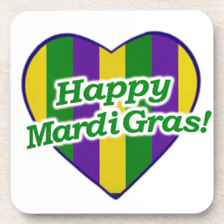 Happy Mardi Gras Logo Coaster