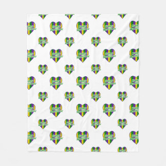 Happy Mardi Gras Logo Fleece Blanket