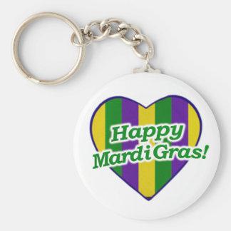 Happy Mardi Gras Logo Key Ring