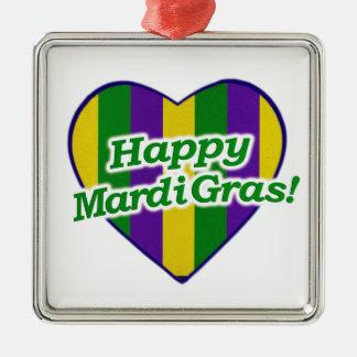 Happy Mardi Gras Logo Metal Ornament