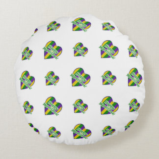 Happy Mardi Gras Logo Round Cushion