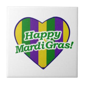 Happy Mardi Gras Logo Small Square Tile