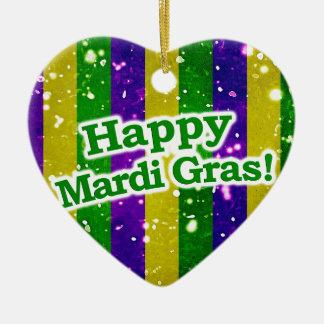 Happy Mardi Gras Poster Ceramic Ornament