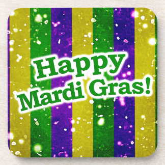 Happy Mardi Gras Poster Coaster