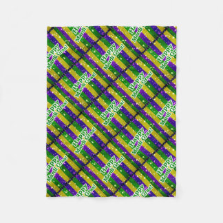 Happy Mardi Gras Poster Fleece Blanket