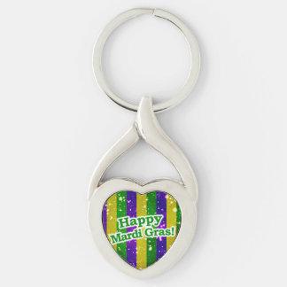 Happy Mardi Gras Poster Key Ring