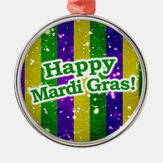 Happy Mardi Gras Poster Metal Ornament