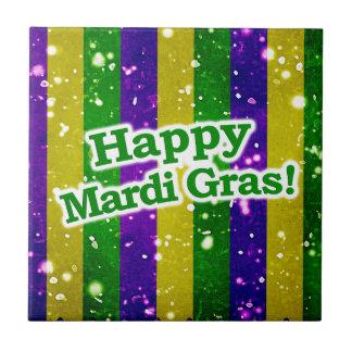Happy Mardi Gras Poster Small Square Tile