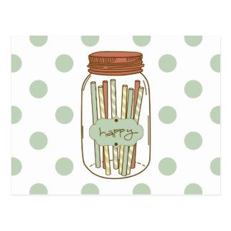 Happy mason jar and straws postcard