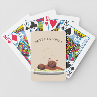 """Happy Meatball """"Pasta La Vista!"""" Bicycle Playing Cards"""
