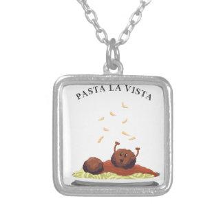 """Happy Meatball """"Pasta La Vista!"""" Silver Plated Necklace"""