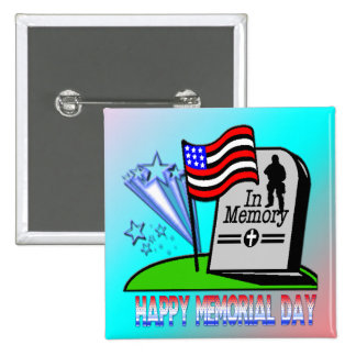 Happy Memorial Day - Flag Gravestone Button