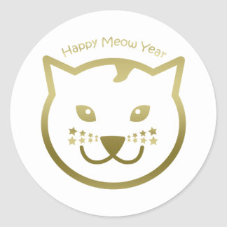 Happy Meow Year - Custom background color Classic Round Sticker