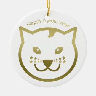 Happy Meow Year - Custom background color Round Ceramic Decoration