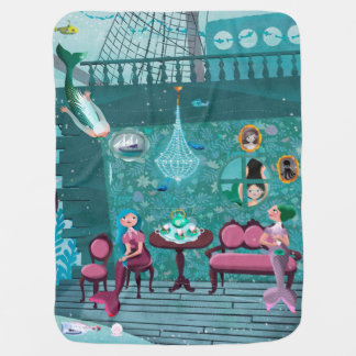Happy mermaids at the Octopus's tea party Baby Blanket