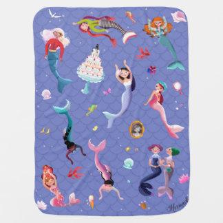 Happy mermaids playing and having fun pramblanket