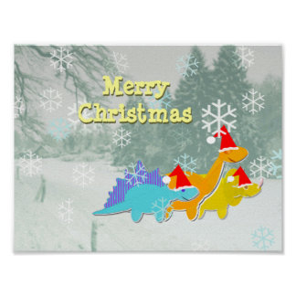 Happy Merry Christmas Dinosaurs Poster Print