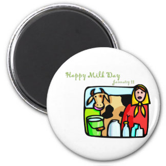 Happy Milk Day January 11 6 Cm Round Magnet