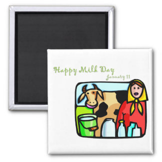 Happy Milk Day January 11 Square Magnet