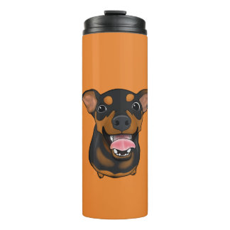 Happy Min Pin Dog Mom Portrait Thermal Tumbler