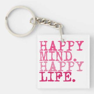 HAPPY MIND. HAPPY LIFE. | Fun Quote Key Ring