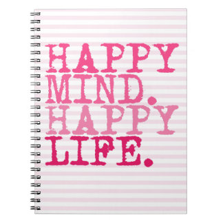 HAPPY MIND. HAPPY LIFE. Fun quote - Photo Notebook