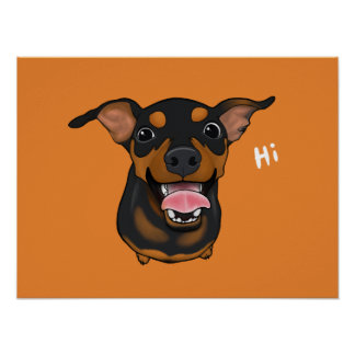 Happy Miniature Pinscher Min Pin Portrait Poster