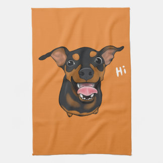 Happy Miniature Pinscher Min Pin Portrait Towel