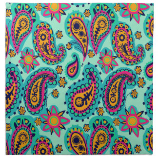 Happy Mint and Orange Paisley Pattern Napkin