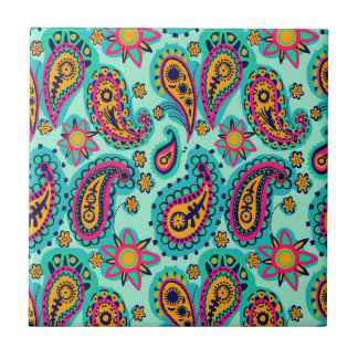 Happy Mint and Orange Paisley Pattern Tile