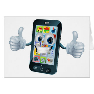 Happy mobile phone mascot character greeting cards