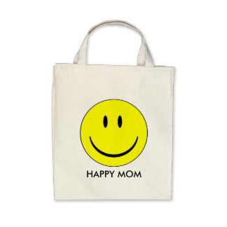 Happy Mom - Organic Grocery Tote Canvas Bag