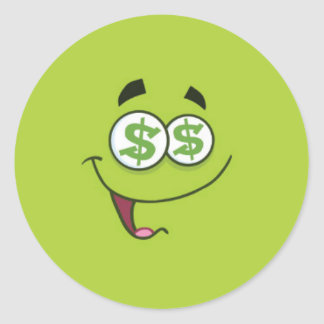 Happy Money Emoji Classic Round Sticker