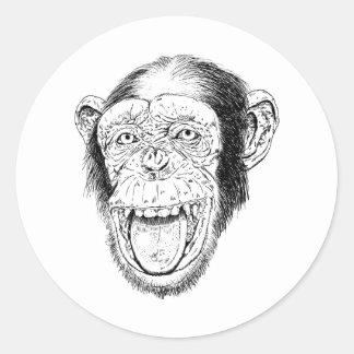 Happy Monkey Classic Round Sticker