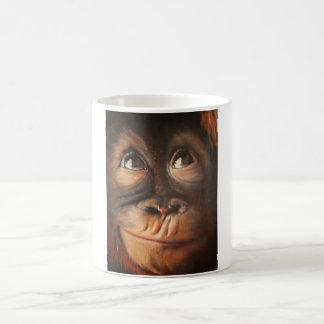Happy Monkey Smiling Oil Painting Orangutan Coffee Mug