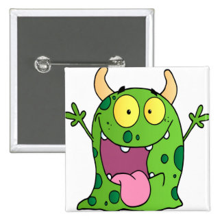 Happy Monster Cartoon Character Buttons