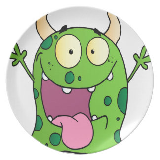 Happy Monster Cartoon Character Plates