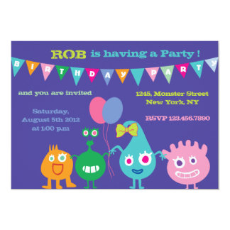 Happy Monsters -Birthday Party Invitations-purple Card