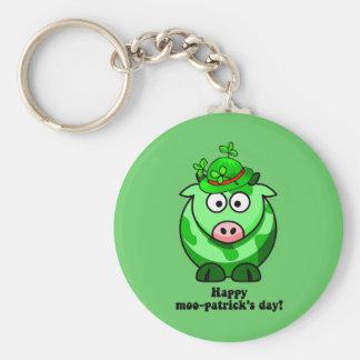 happy moo patricks day basic round button key ring