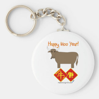 Happy Moo Year Basic Round Button Key Ring