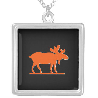 Happy Moose - Orange Silver Plated Necklace